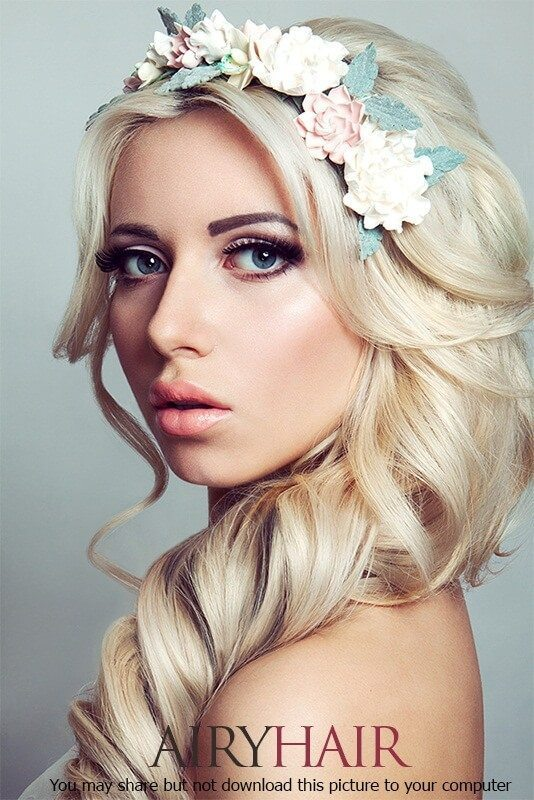 Blond girl hairstyle with white and red flowers