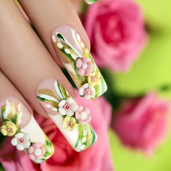 10 stunning examples of nail polish art flower nail sticker design for long nails prinsesfo Image collections
