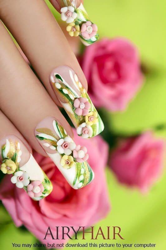 Flower nail sticker design for long nails