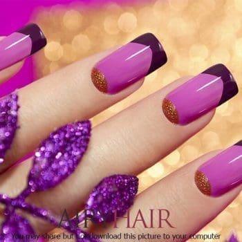 Nagelkunst in drei Farben: Pink, Magenta & Gold