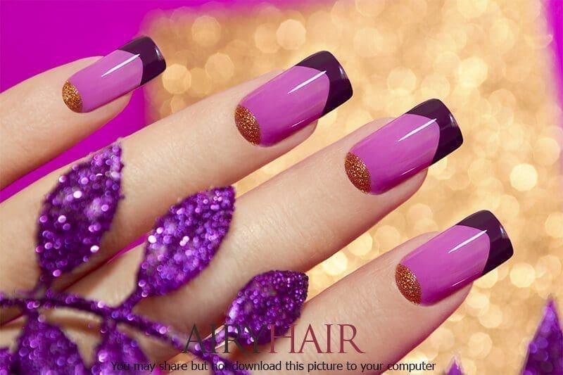 Three colour nail polish art: pink, magenta and gold