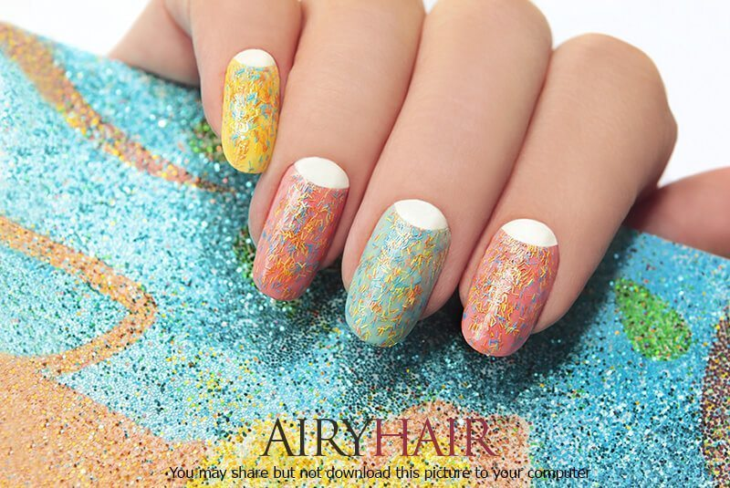 Creative multicoloured grains nail art design
