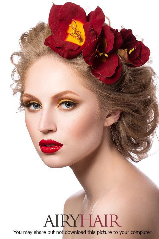 Bright color red big flower hairstyle