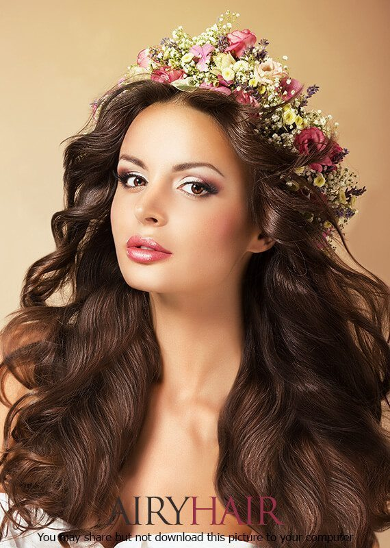 A hairstyle with both wild and garden flowers