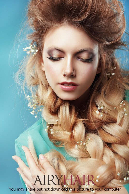 Gorgeous and simple hair design with white bellflowers