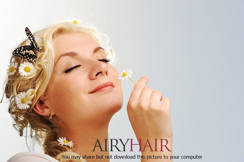 Easy to apply hairstyle with chaomille flowers