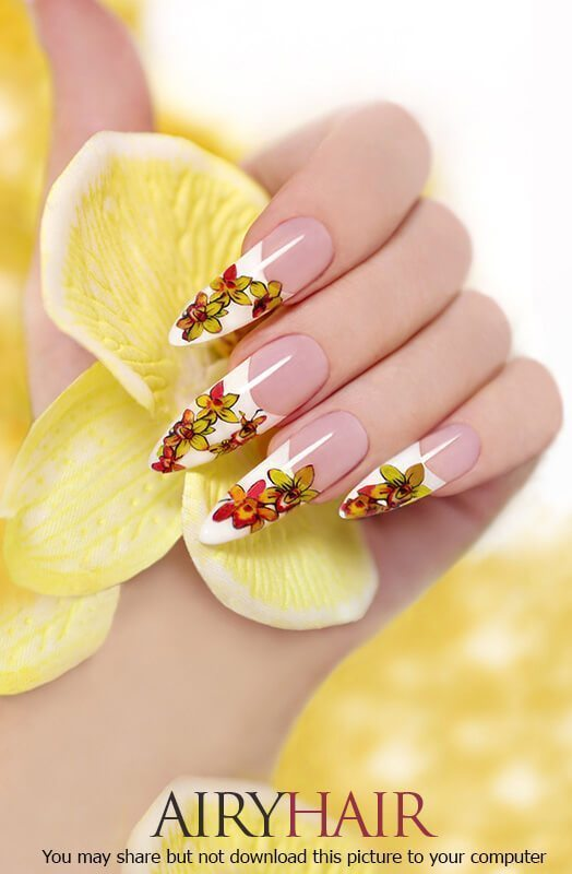 Flower texture nail stickers with white polish