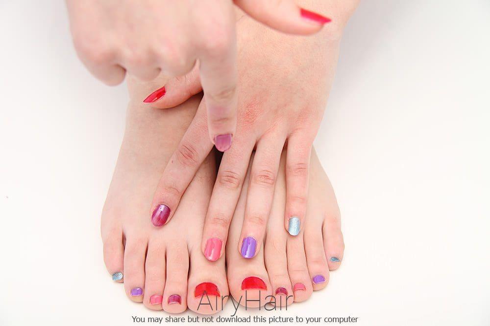 Multi Color Manicure and Pedicure Combination