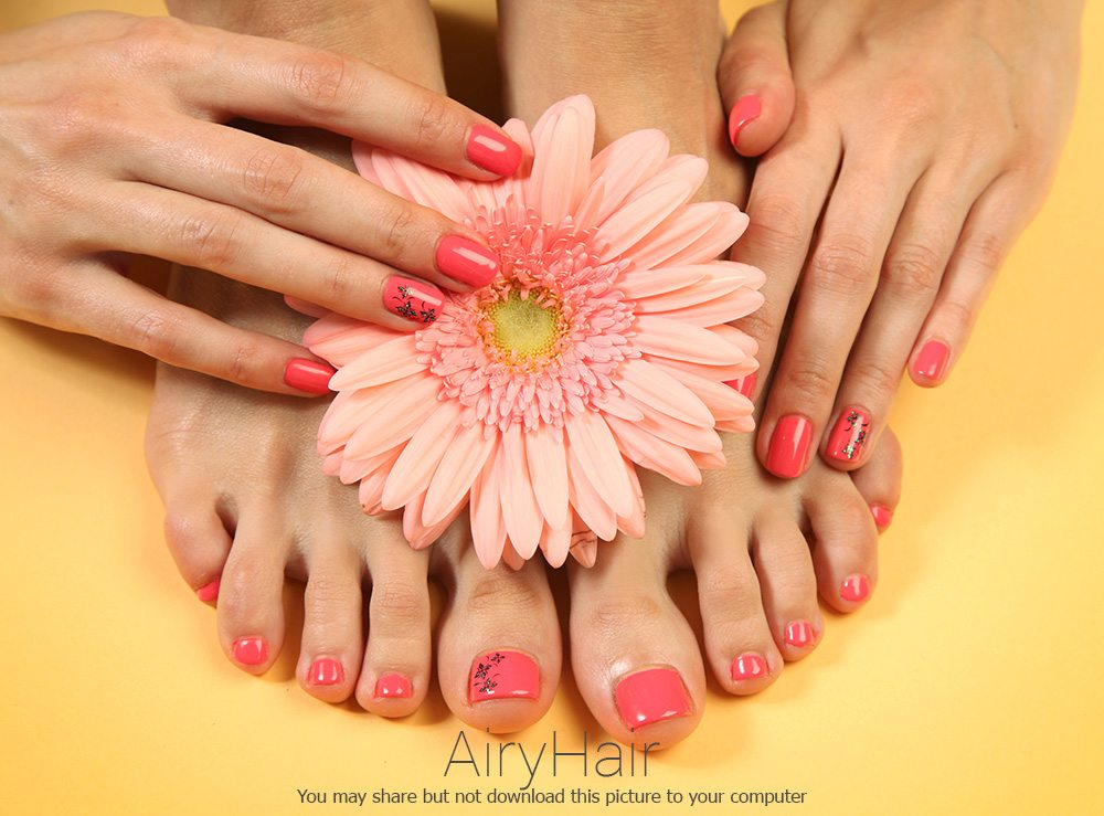 Red Manicure and Pedicure Combination