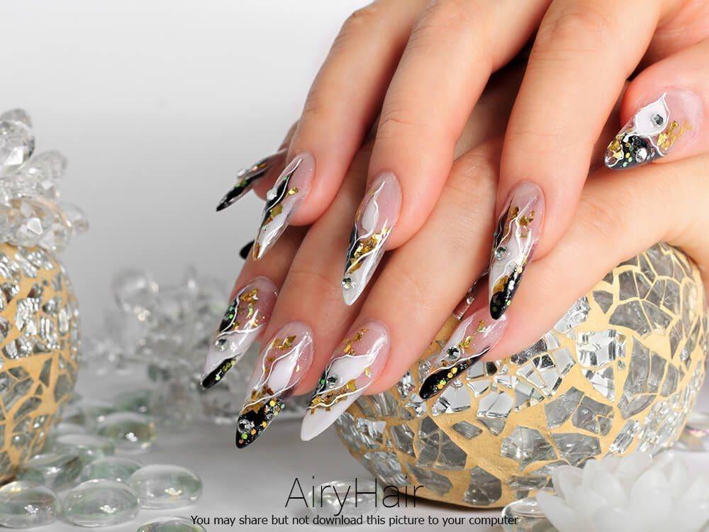 red manicure futuristic nail manicure art long nails manicure art