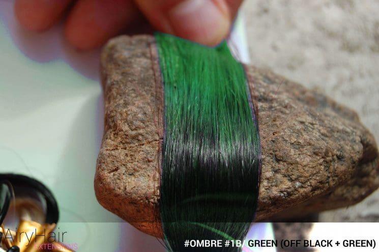 #Ombré #1B / #Green (Off Black + Green)