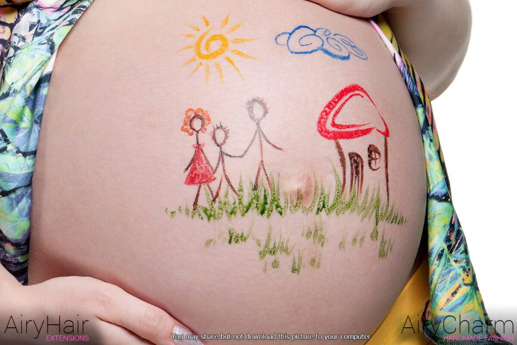 Pregnant Woman Belly Painting: Happy Family