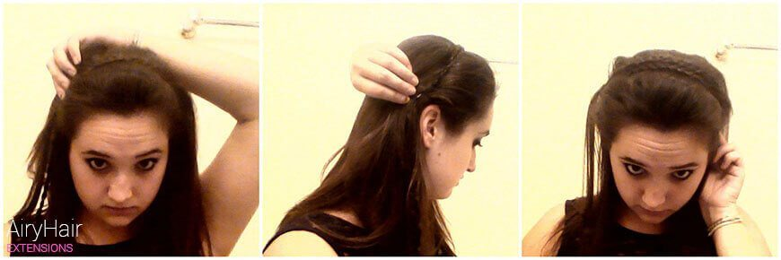 Take your braided strands and bobby pin them to behind the opposite ear