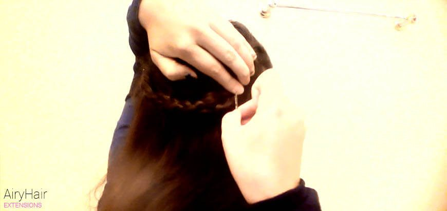 Tuck the end of the braid underneath the start