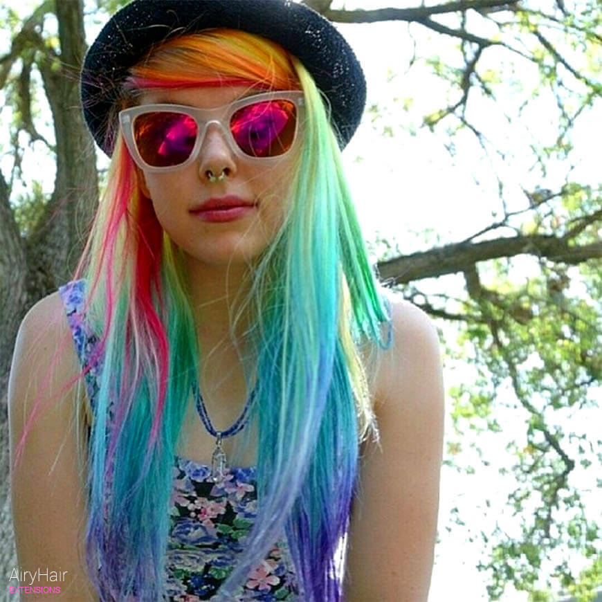 Hipster rainbow hairstyle ideas