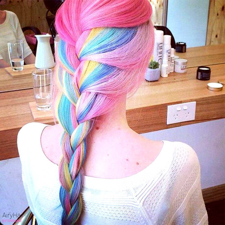 Light rainbow braided hairstyle