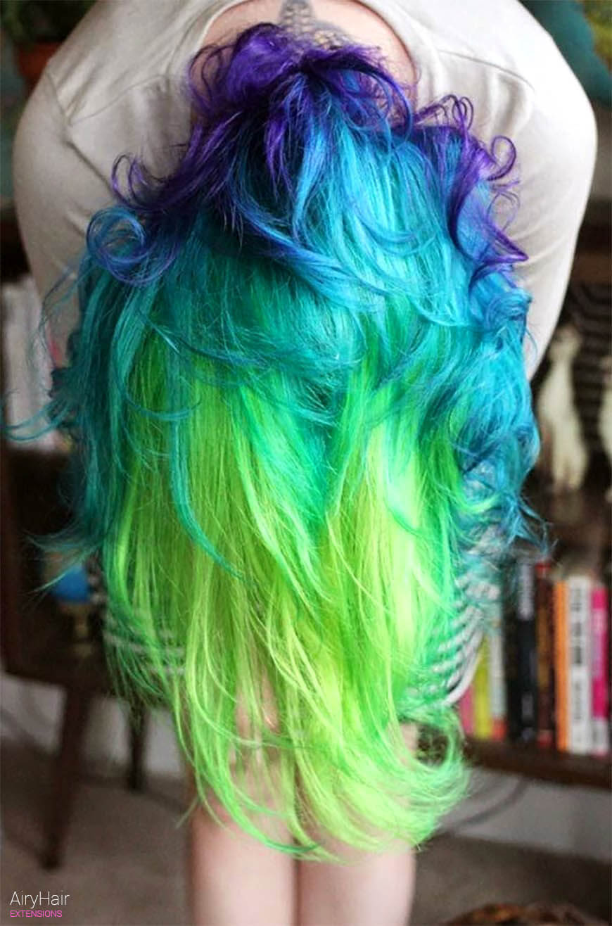 Mermaid like rainbow hairstyle