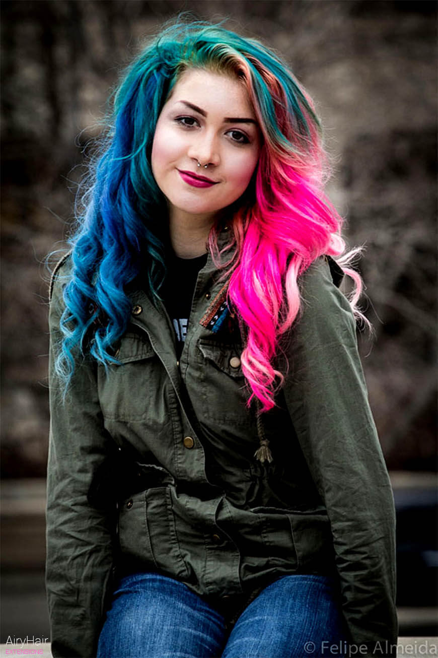 Pink and blue hairstyle ideas