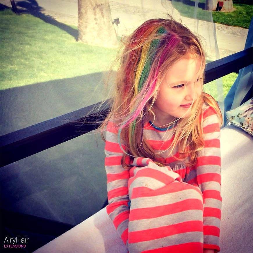 Rainbow hairstyle for children