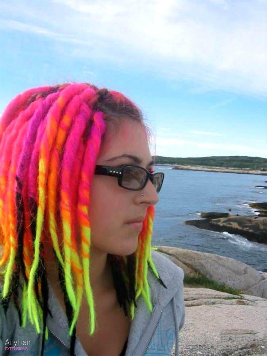 Rainbow dreadlocks hair