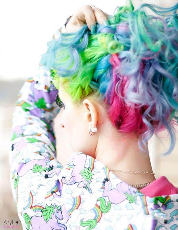 Rainbow hairstyle ideas for short hair