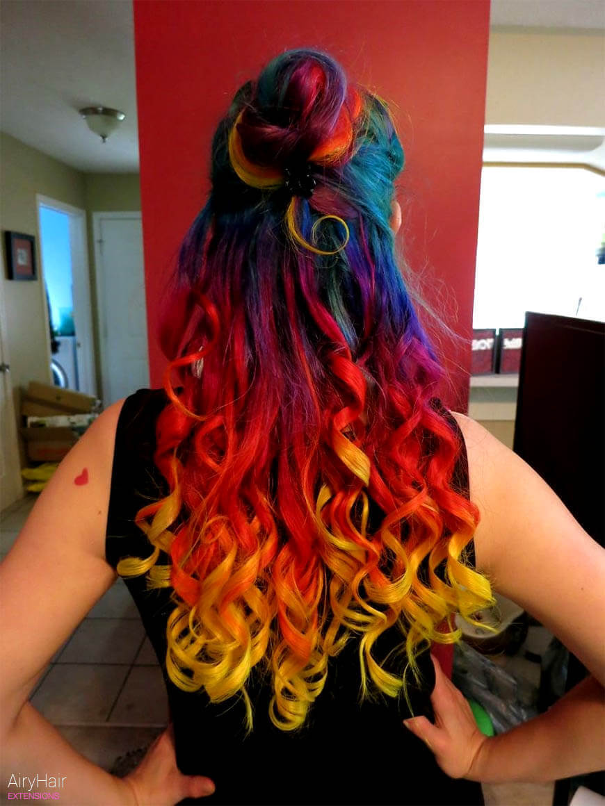 Super colorful rainbow hairstyle