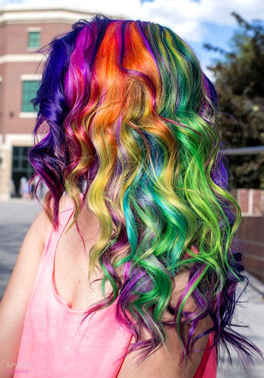Trippy rainbow hairstyle