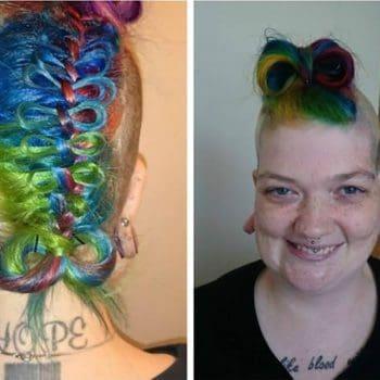 Rainbow Haircut Simple Violet And Blond Hair Color Ideas