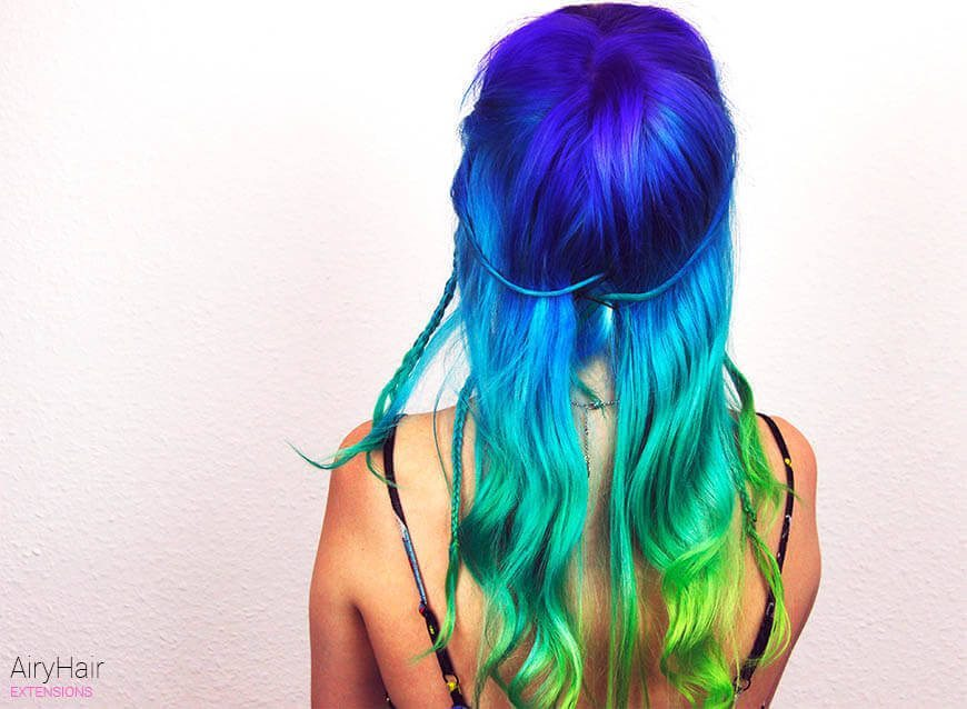 Electric blue and green hairstyle