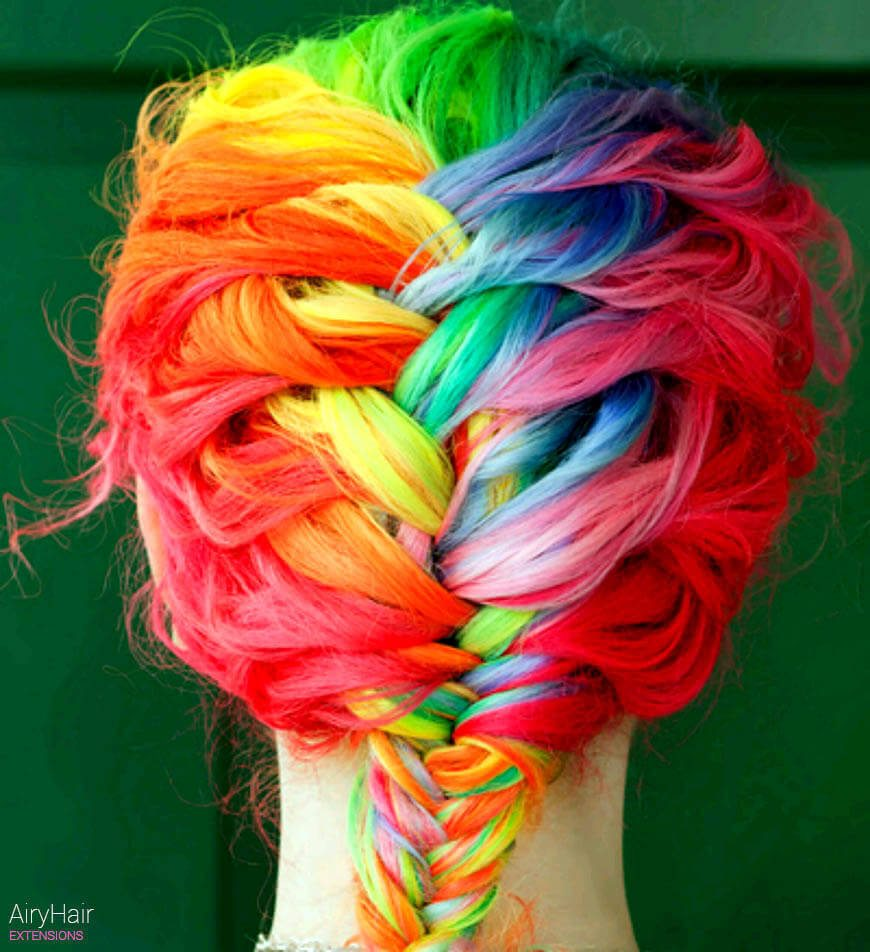 French braided rainbow hairstyle