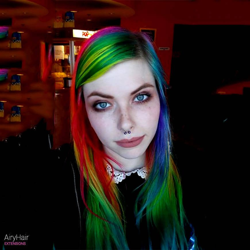 High contrast rainbow hairstyle