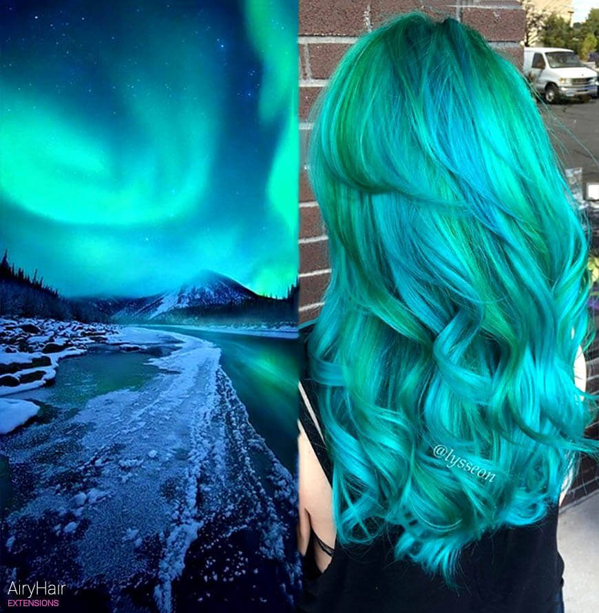 Electric green galaxy hair
