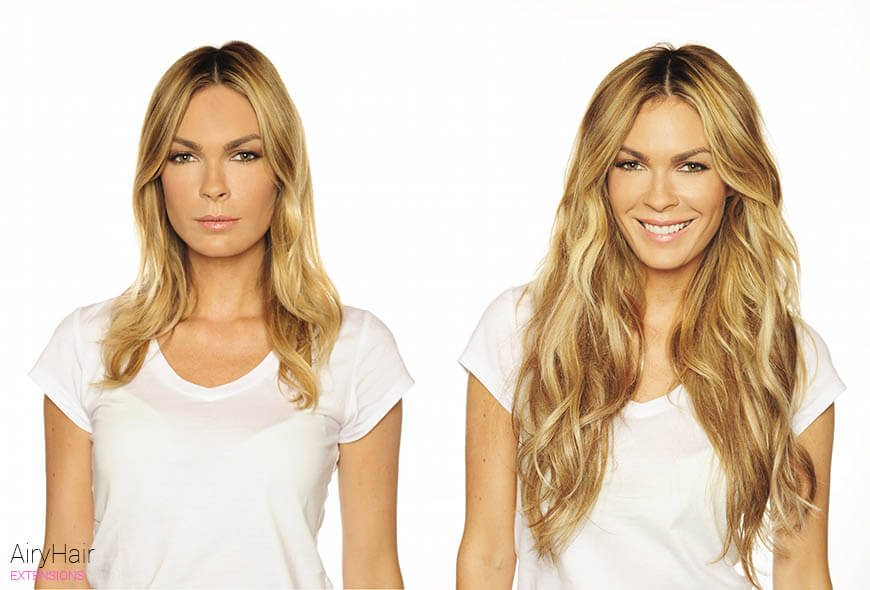Hair Extensions Before Amp After Images Medium And Short Hair