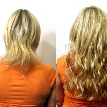 Hair extensions before after images medium and short hair keratin hair extensions before and after pmusecretfo Images