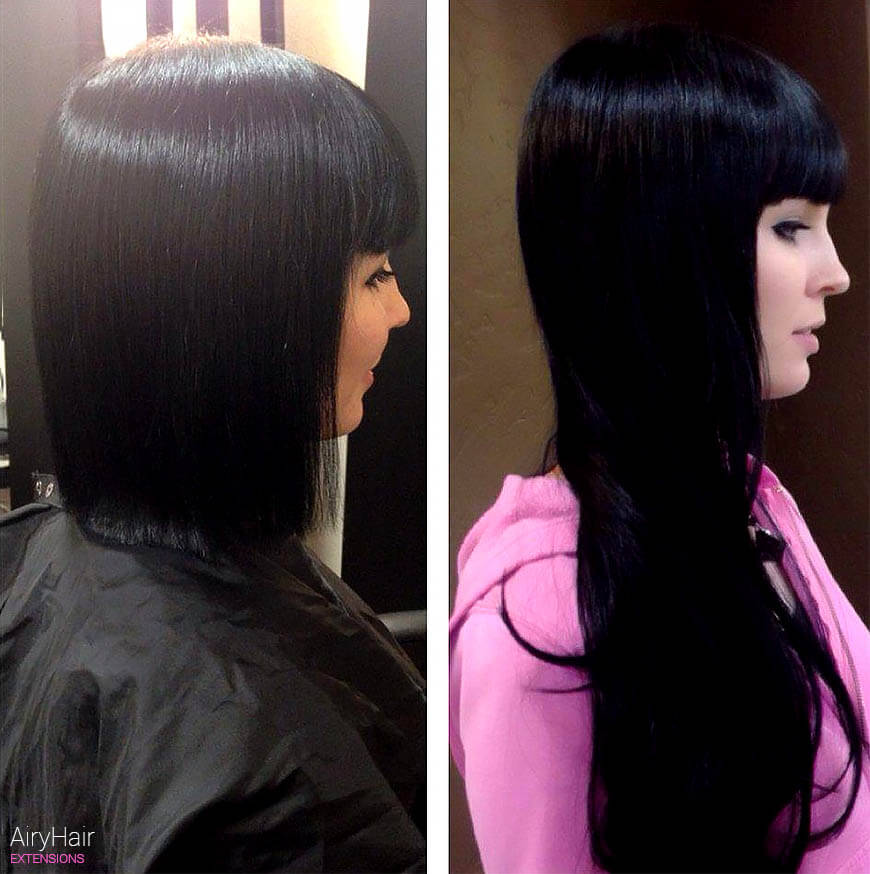 Hair extensions, before and after, black hair