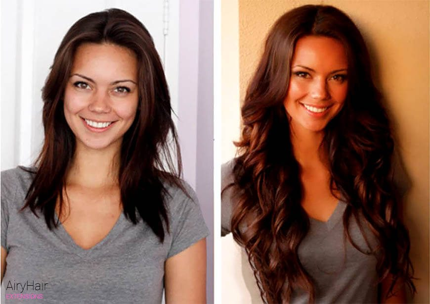 Hair extensions, before and after, brunette