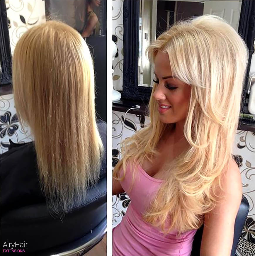 Clip in hair extensions, before and after, blond