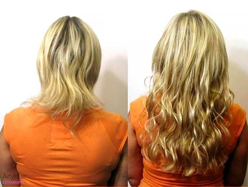 Keratin hair extensions, before and after