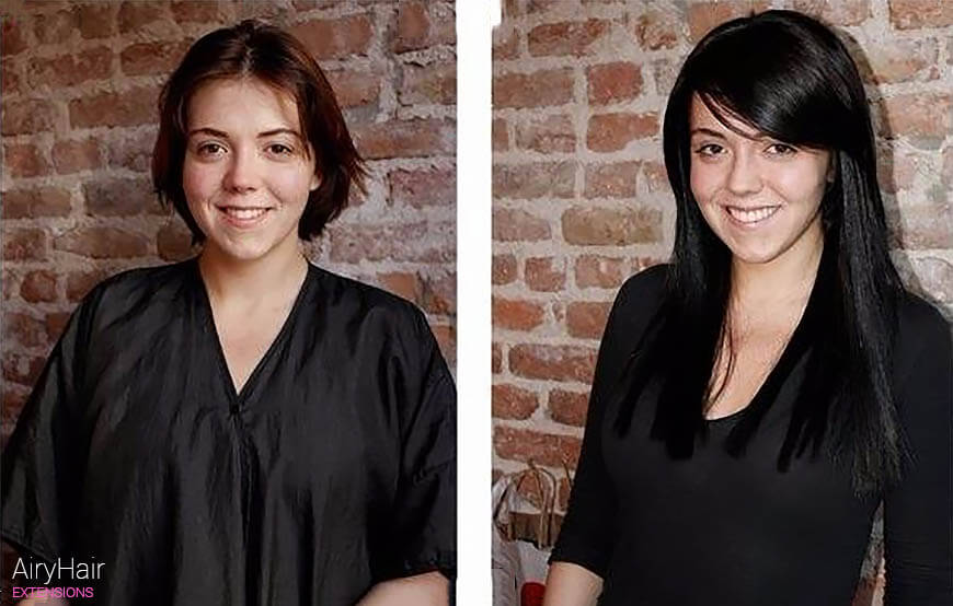 Microring loops hair extensions, before and after