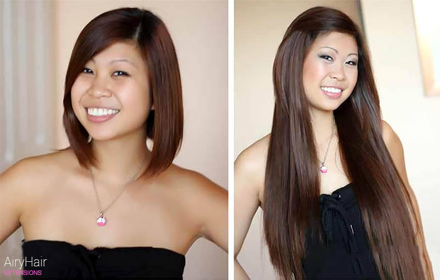 Hair extensions, before and after for short hair