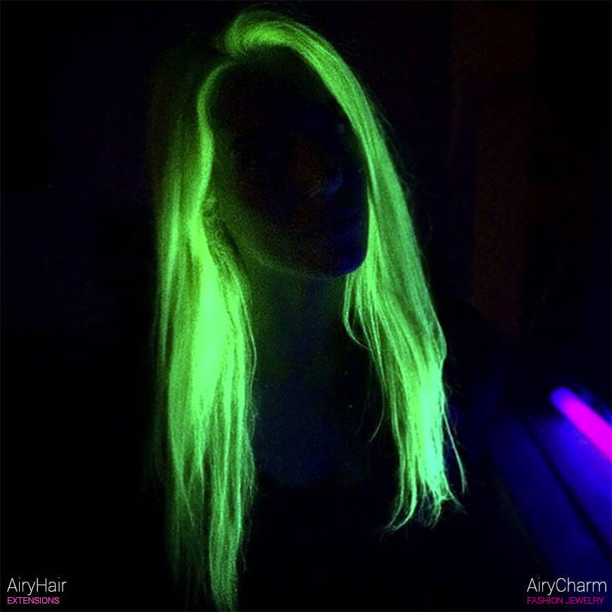 Green neon hairstyle
