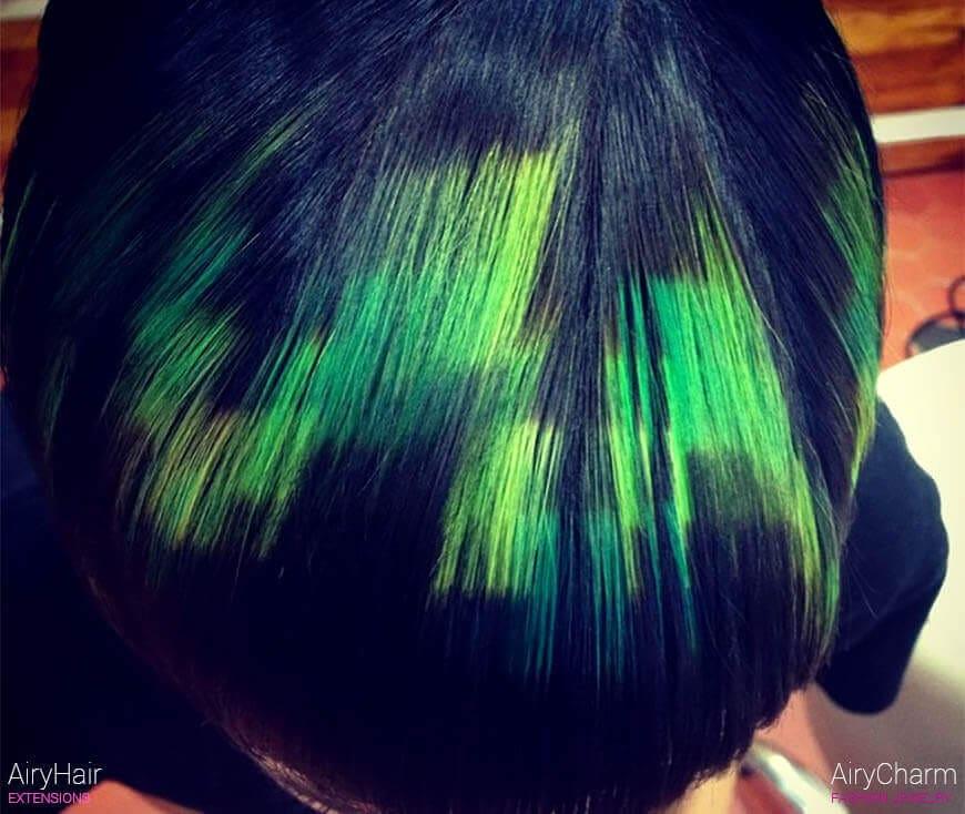 Green pixel art hair
