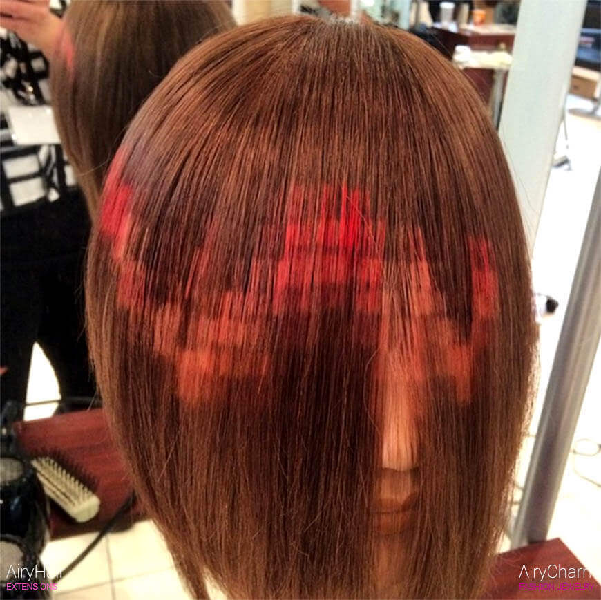 Red and orange pixel art hair