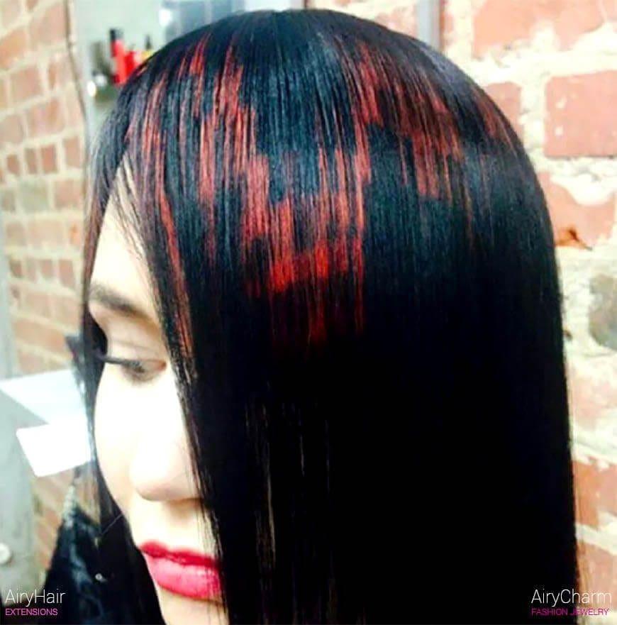 Red pixel hair