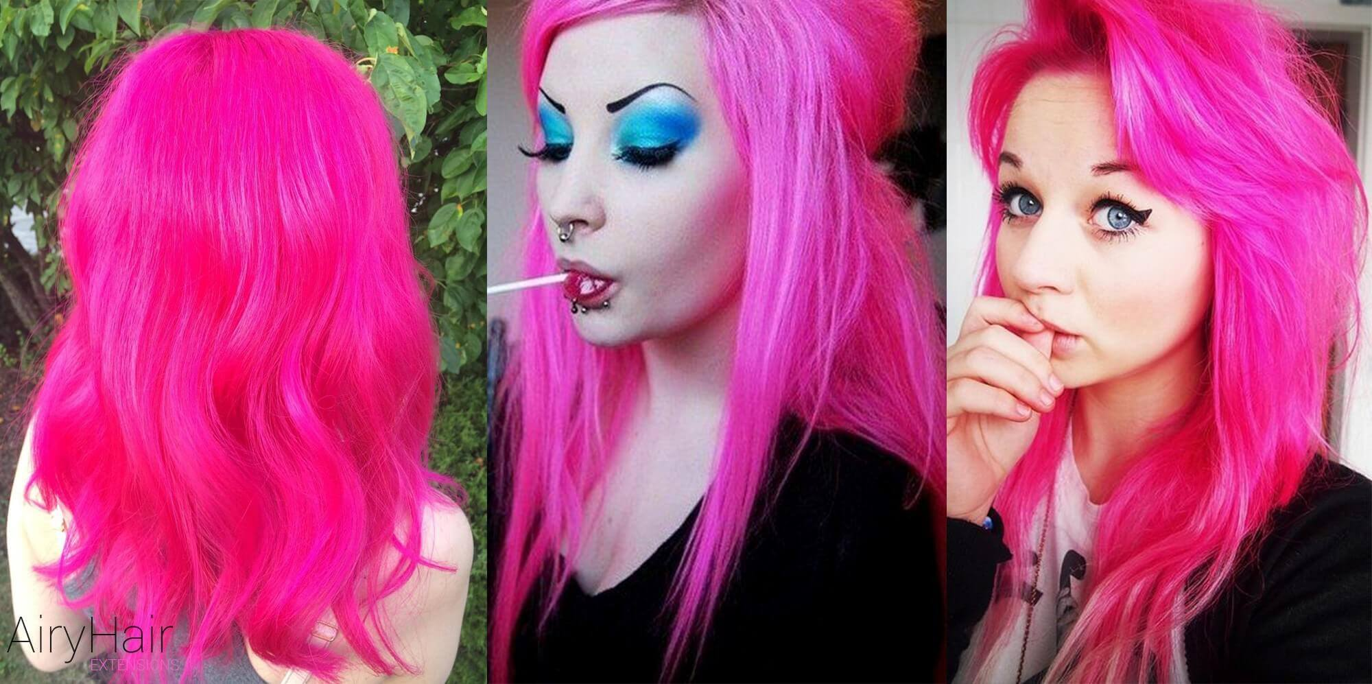 Hot pink hair extensions