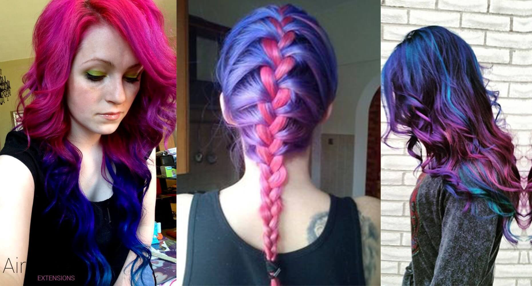 Blue pink hairstyle