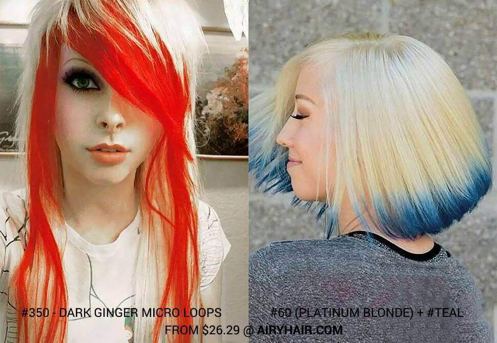 Dark Ginger / Teal and Blonde Mixed Colors