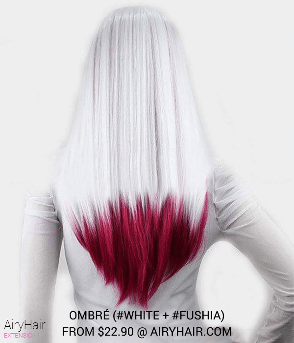 White and Fushia Ombre Hair Extensions
