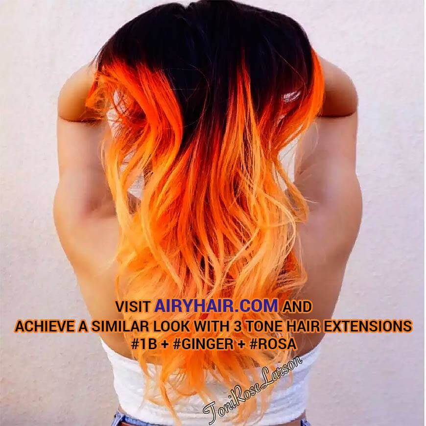 Three Tone Hair: Ginger, Rosa and Off Black
