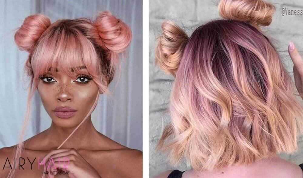 Pastel pink copper hair extensions
